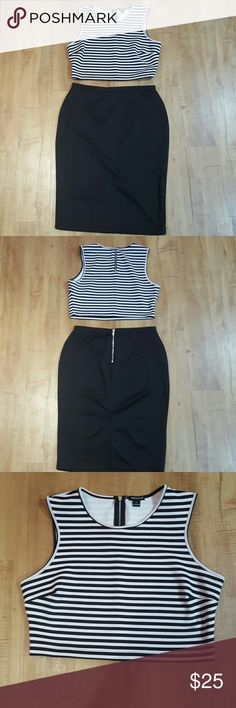 2 peice outfit Really sexy and cute 2 peice outfit.  Black/white midi top and black pencil skirt.  Wear together or separately. I ? Ronson  Other Crop Tops