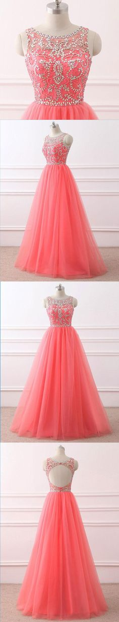 Prom Dresses 2018 | Cute scoop neck coral tulle prom dress for teens #prom #dress #promdress #promdresses