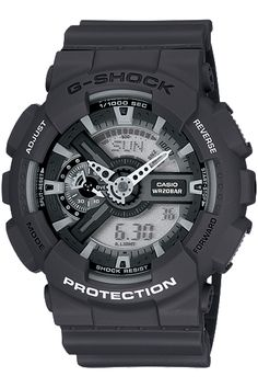 G-Shock GA110 X-Large - Adding to the powerful look and allure of the GA110 X-Large G series, two new models are introduced with black, grey and white monotone coloring for the case, band and parts.  As with the previous models, a layered dial gives a bold 3-D look and Magnetic Resistance adds to the strength of its Shock Resistant and 200M Water Resistant structure.   There's also a 1/1000th Second Stopwatch with Velocity Indicator.