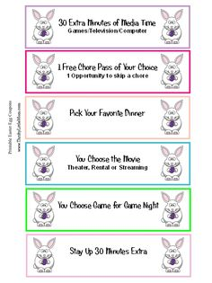 Free Printable Easter Egg Coupons for young kids. Skip so much candy and allow your kids to use and turn in these special coupons for rewards they really want! Just cut, fold and stuff in your Easter Eggs.