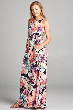 a80b4e33a11 GOZON Women s Floral Party Sleeveless Round Neck Summer Maxi Dress – GOZON  Boutique Floral Bridesmaids