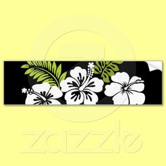 White hibiscus and leaves bumper stickers from Zazzle.com