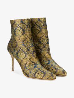 Manolo Blahnik Insopo floral brocade boots