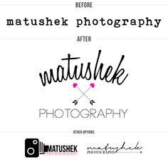 before & after - matushek photography logo // Amanda Genther Photography Packaging, Photography Logos, Hipster Brands, Branding Design, Logo Design, Personal Branding, Business Tips, Brand Identity, Online Marketing