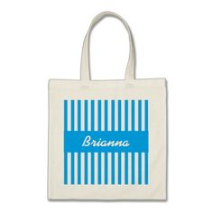 Wedding Favor Stripes Custom Name V18 BLUE Tote Bag   To see more customizable striped Jaclinart gift items:   http://www.zazzle.com/jaclinart+striped+gifts?st=date_created&ps=120  #stripes #striped #pattern #jaclinart #design #create