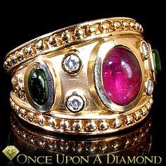 Etruscan 14K Yellow Gold 1.95ctw Pink & Green Tourmaline Diamond Cocktail Ring