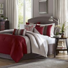 Red and Gray Master bedroom - I like the dark wood for the dresser and nightstand