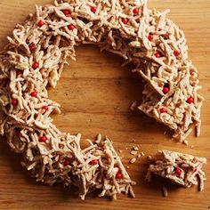 Triple-Almond Haystack Wreath - Be warned: The salty crunch of chow mein noodles makes this completely addictive.