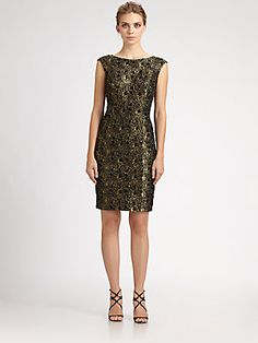 Carmen Marc Valvo Metallic Lace Dress