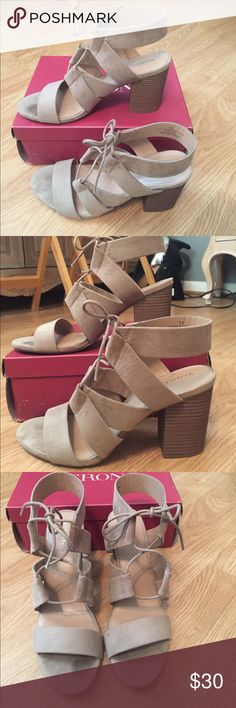 Tan Heels Tan strappy heels from Merona with trendy block heel. These go great with dresses, jeans, anything! Only worn once, in excellent like new condition. Merona Shoes Heels