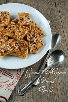 Coconut and Marcona Almond Brittle - Marcona almonds are grown exclusively in Spain and are sweeter, rounder, and flatter than other sweet almonds.