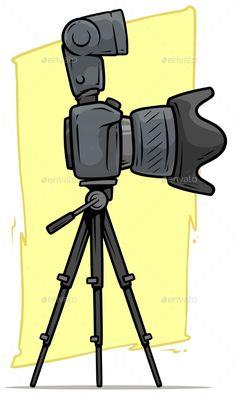 Buy Cartoon Digital Camera with Big Lens on Tripod by GB_Art on GraphicRiver. Cartoon digital photo camera with big lens and flash on tripod. Camera Drawing, Camera Art, Camera Icon, Camera Doodle, Camera Cartoon, Camera Wallpaper, Girl Drawing Sketches, Drawings, Simple Doodles