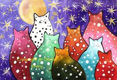 Very colorful Chubby Polka-Dot Kitties with a background of a deep purple shaded indigo blue twilight sky with a full moon and stars, done in an abstract style. This is a PRINT from one of my original paintings. It is printed on acid-free, archival watercolor paper. It will be sent in an archival sleeve for protection, safe for long-term storage, and accompanied by a certificate of authenticity.  It is available in ACEO and 5x7 inch sizes. The copyright notice is on the digital image only…