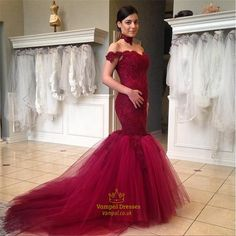 vampal.co.uk Offers High Quality Red Lace Off The Shoulder Sweetheart Neckline…