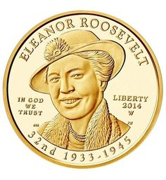US Gold Coins Eleanor Roosevelt 2014 10 Dollars First Spouse Gold Coin