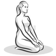 Hand Drawn Thunderbolt Vajrasana Pose, Yoga Woman