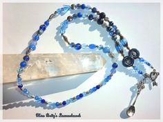 Trend-Collier Saphir Jade Glas Löffel Blau Silber von ♥Miss Betty's Luxus-Schmuckbar♥ auf DaWanda.com