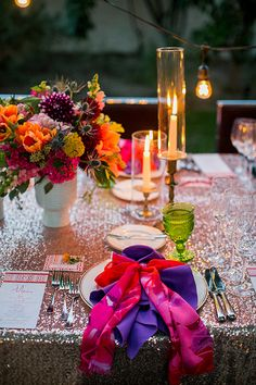 Colorful & bright modern garden wedding tablescape. The Parker Palm Spring wedding by Alchemy Fine Events | Photo by Scott Clark Photo | 100 Layer Cake