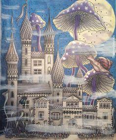 Spooky Magic mushrooms.  #summernightcoloringbook #sommarnatthannakarlzon #sommarnatt #sommarnattmålarbok #sommarnattcoloringbook #polychromos #fabercastellpolychromos #derwentinktensepencils #inktensepencils #målarbokförvuxna #målarbok #målarböckerförvuxna #jennychromosfinnished #halloweencoloring #hauntedhousecoloring #instaart #instaartist #hannakarlzon