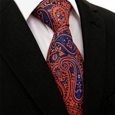 Amazon.com - Shlax & Wing Extra Long Size Necktie Paisley Blue Navy Orange Men Tie Jacquard Weave - Moroccan Fabric, Cheap Fashion, Mens Fashion, Putting On The Ritz, Paisley Tie, Orange Crush, Marceline, Jacquard Weave, Men Casual