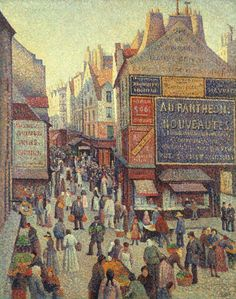 Maximilien Luce. La Rue Mouffetard. 1889-1890. Oil on canvas. 31 5/8 x 25 3/16 in. The Holliday Collection, Indianapolis Museum of Art.