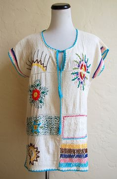 Vintage 70s Hippie Festival Hand Embroidered by LolaAndBlack, $32.00
