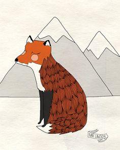Gentle+Fox++Illustration+Print+par+NanLawson+sur+Etsy,+$10.00