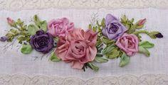 silk ribbon embroidery roses - Buscar con Google