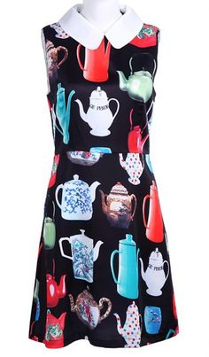 Black Peter Pan Collar Sleeveless Teapot Print Silk Dress  pictures
