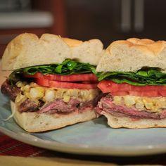 Mario Batali Grilled Skirt Steak Sandwich with Charred Corn Mustard #sandwich #beef