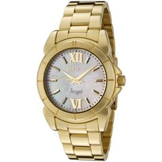 Invicta Women's 0460 Angel Collection 18k Gold-Plated Stainless Steel Mother-of-Pearl Watch  Round watch featuring logoed pearlescent dial with gold-tone hands, hour markers, and Roman numerals at 12 and 6 o'clock36 mm gold-plated stainless steel case with flame-fusion dial windowSwiss quartz movement with analog display  http://dailydealfeeds.com/shop/invicta-womens-0460-angel-collection-18k-gold-plated-stainless-steel-mother-of-pearl-watch/