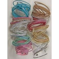 Stapel wikkelarmbanden strass diverse kleuren