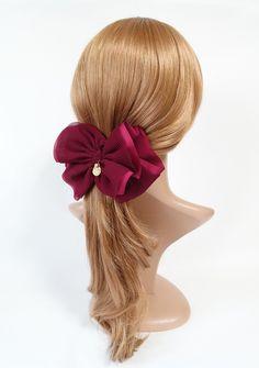 Fabric Bows, Ribbon Bows, Ribbons, Flower Hair Clips, Flowers In Hair, Unique Hair Bows, Ribbon Hairstyle, French Hair, Hair Claw