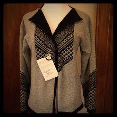 Fantastic Norwegian cardigan sweater! Stunning gray and black Norwegian pattern cardigan.  Never worn - includes rustic pin! 100% wool. Heraldica Design Sweaters Cardigans
