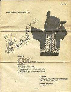 Vintage Bear Puppet Pattern As Seen in Good by TheIDconnection, $20.00