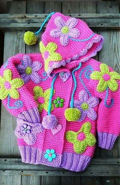 What lovely colours and design Crochet Baby Cardigan, Crochet Cap, Crochet Girls, Crochet For Kids, Crochet Hooks, Knitting For Kids, Baby Knitting, Crochet Crafts, Crochet Projects
