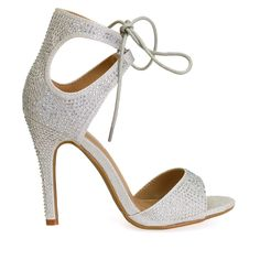 0cdeb1d9280 Jasleen-75 Silver Rhinestone Lace Up Party Heels Pumps Heels