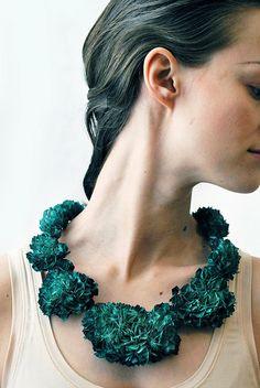 Hanna Liljenberg yearn neckpiece 2013 paper, paint, lacquer, steel, silver, silk thread