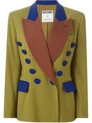 Moschino Vintage Colour Block Blazer Green
