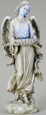 "Large Solar Guardian Angel Bird Bath 24"" Tall"