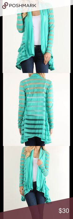 Coming soon! Mint Shadow Stripe Cardigan Gorgeous Cardigan drapes beautifully over your curves as the sheer stripes add visual flair.   Truly lovely. Gorgeous mint color! Sweaters Cardigans