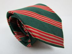 Mens Lands End Silk Tie Green Multi Color Stripe Classic Necktie 58 x 3.75 New #LandsEnd #Tie
