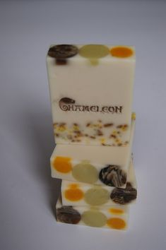 seifenmafia oils of olive, coconut, cottonseed and hazelnut with shea butter and stearic acid.  scented with orange blossom