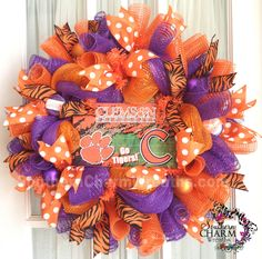 Go Clemson Tigers wreath by www.southerncharmwreaths.com