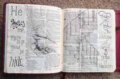 Double page. Bible Journaling, Bible Art. Genesis. Hands, staircase. Spiral staircase. Draw Close Blog