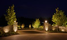 The distinctive outdoor illumination of this driveway provides safety, security and prestige. Driveway Blocks, Tree Lined Driveway, Fence Gate Design, Driveway Design, Driveway Entrance Landscaping, Outdoor Landscaping, Landscape Lighting, Outdoor Lighting, Gate Lights