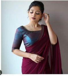Magenta Colored Beautiful Pure Silk Touch Original Fabric Designer Saree With Blouse - Kerala Saree Blouse Designs, Saree Blouse Neck Designs, Saree Blouse Patterns, Fancy Blouse Designs, Indian Blouse Designs, Designer Blouse Patterns, Sari Design, Designer Kurtis, Designer Sarees