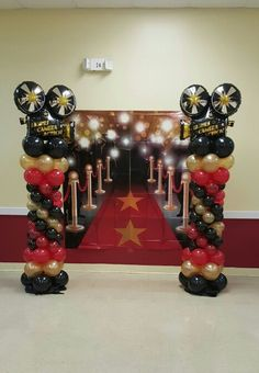 Balloon columns, hollywood theme, sweet 16