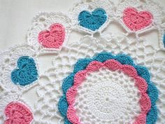 Whimsical Hearts Crocheted Doily
