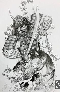 Samurai and horse tattoo design for a client. Hannya Mask Tattoo, Hanya Tattoo, Yakuza Tattoo, Japanese Tattoo Art, Japanese Tattoo Designs, Japanese Sleeve Tattoos, Samurai Warrior Tattoo, Warrior Tattoos, Horse Tattoos